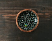 Small Circle Bowl : Blue/Green Dots with Black
