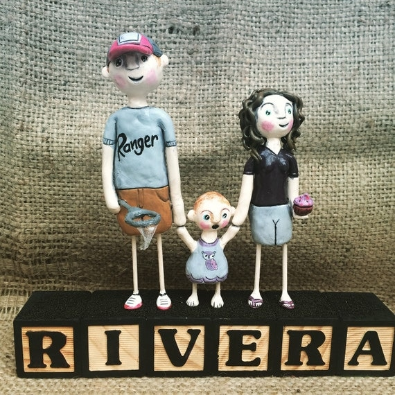 Family Portrait of THREE Folk art sculpture on letter blocks