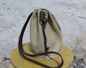 Beige Leather Drawstring Bag