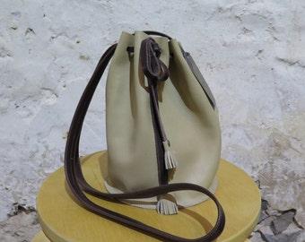 Beige Leather Drawstring Bag