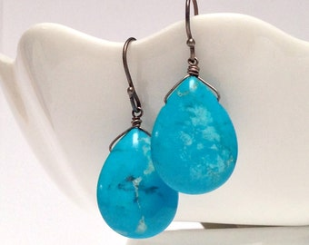 Turquoise Smooth Briolet Earrings on Antiqued Silver Earrings