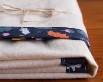 Organic Baby Blanket, WOODLAND CRITTERS; Navy, Orange Squirrels Essential Organic Bound-Edge Baby Blanket by Organic Quilt Company