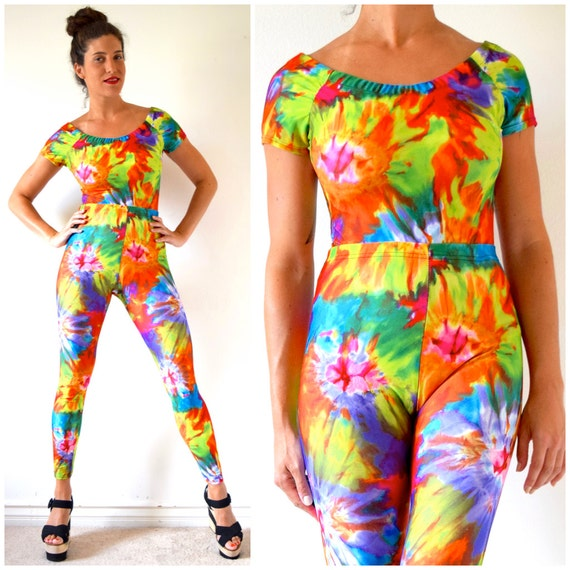 Vintage 90s Tie Dye Spandex High Waisted Leggings and Off the Shoulder Top 2 Piece Set (size small, medium)