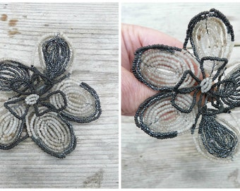 Vintage Antique 1900/1920 French  black & white glass beads /  beaded flower /French beadwork