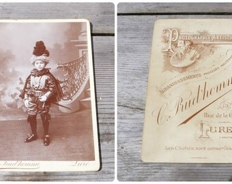 Vintage Antique 1900  French  cabinet photography child disguise /costume Petit Marquis