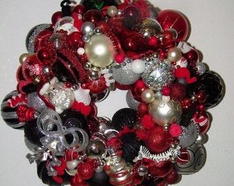 Vintage Black Silver Christmas ornament wreath Germany Glass 16584 Shiny Brite