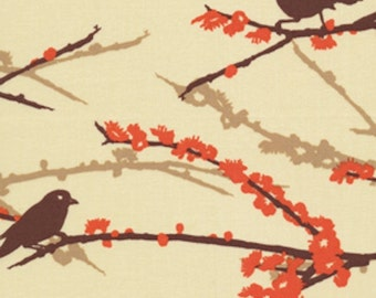 HALF YARD - Joel Dewberry Fabric, Aviary 2, Sparrows in Bark Brown Orange, Branches - SALE