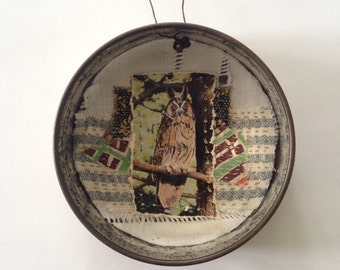 Original Mixed Media Collage in a tin - owl