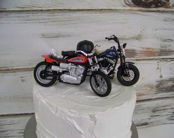 Motorcycle Cake Topper, Wedding Cake Topper, Bride and Groom Motorcycle, Cake Topper, Harley Cake Topper