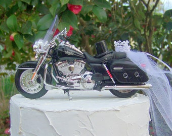 harley davidson road king wedding cake toppers motorcycle wedding etsy 15070