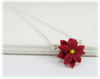 Tiny Poinsettia Necklace - Poinsettia Jewelry