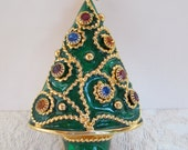 Vintage Christmas Tree Brooch Enamel Pin Earring Stud Holder Jewel Tones Signed W