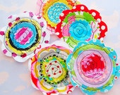 Sewn Fabric Flowers Embellishment Set of Five