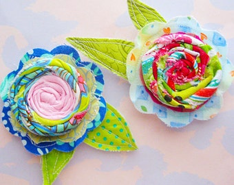 Set of Two Sewn Fabric Flowers with Rosettes and Leaves