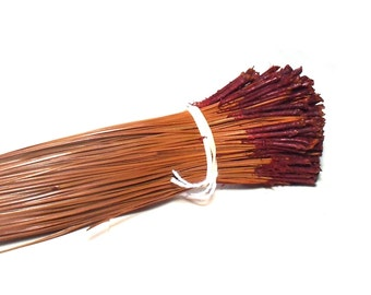 Dyed Pine Needles Red Caps Pine Needle Basketry Coiling Material 3 OZ Bundle Brown Long Leaf Pine for Basketmakers Pine Needle Basket Supply