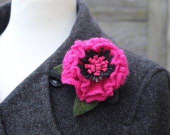Wool Flower Brooch Pink and Black Primrose Pin