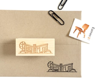 Retro House Rubber Stamp / Retro Ranch House / Mid Century House / Cute House Stamp / Illustration Stamp / Housewarming Card / Paper Craft
