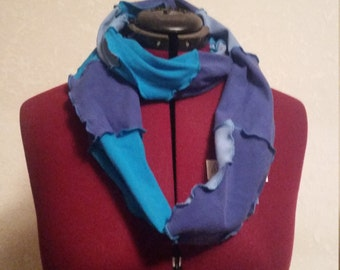 Funky upcycled patchwork infinity scarf