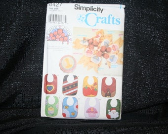 Simplicity 8427 Bibs with Appliques Sewing Pattern, Baby, Infant Burp Bibs,Bees,Santa,Turkey,Flag,Pumpkin,Cupcake,Heart,Appliques,SEWBUSY12