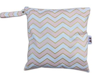 HEAT SEALED and BEST Selling Wet Bags here -Large Wet Bag in Chic Chevron with Snap Handle