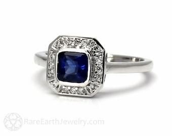 Art Deco Sapphire Ring Vintage Blue Sapphire Engagement Ring Asscher Cut 14K or 18K Gold Blue Gemstone Ring