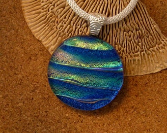 Dichroic Pendant - Dichroic Jewelry - Fused Glass Pendant - Fused Glass Jewelry - Dichroic Necklace - Fused Glass Necklace - Blue Pendant