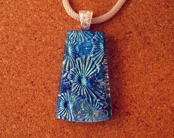 Dichroic Glass Pendant - Fused Glass Pendant - Blue Dichroic Pendant - Dichroic Jewelry - Dichroic Necklace - Fused Glass Jewelry