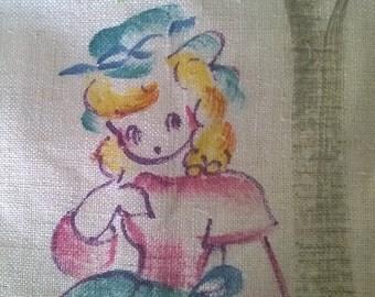 Little Bo Peep Hand Painted Linen Dishtowel, 1940s Cutie, Textiles from the past, Vintage Linen Tea Towel