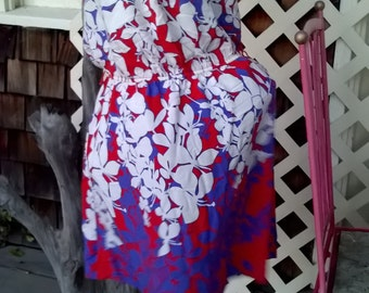 Rayon Hawaiian Beach Dress, Summer Fun, Swim Coverup, Sz L, Hawaiian Ginger Print, Red, Purple, White
