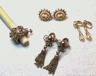 Gold Earring Lot , 4 pair Costume and Real Gold Pretty Assortment