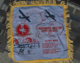 WWII pillow cover Soldier wife souvenir pillow Laurinburg Maxton Army Air Base NC home decor Vintage veteran plane 40s Military pillow