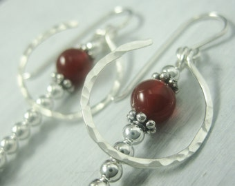 Phi Golden Ratio Math Earrings Hammered Sterling Silver and Carnelian Dangle Earrings Math Jewelry -- Other Stones Available