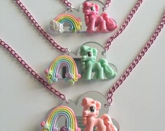 last one---Sale!!! Pony cloud rainbow deco Necklace