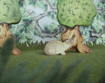 Wooden Otter, Waldorf Wood Animal Toy odd little animal Miniature Toys Montessori materials