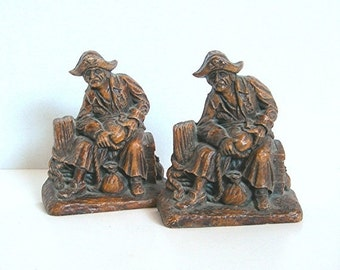 Pirate Bookends, Syroco Wood Composite, Vintage c1940