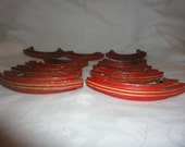 Vintage Set of 12 Red Kitchen Cabinet Handles Drawer Pulls Groove Painted Metal
