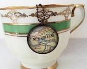 New Orleans, Louisiana Map~ Charm Necklace~Big Easy Travel Trip Gift~Unique Pendant Jewelry~Moving Away Present~Destination Wedding Souvenir
