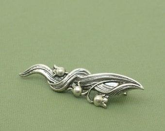 Lily hair clip floral vintage style romantic wedding silver bridesmaid barrette art nouveau 1920's style bridal