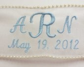 Pearl Embroidered Personalized Translucent Ribbon Wedding Gown Label with Pearl Embellishment