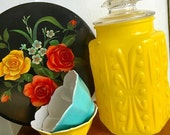 Sunshine Daydream... Rare Vintage Imperial Glass Company  LE Smith Glass Atterbury Scroll Yellow Fired On Canister