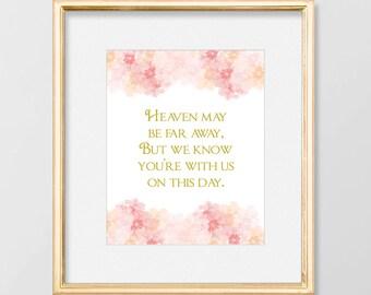PRINTABLE In Memory Wedding Sign Printable // In Memorium Wedding Sign // In Loving Memory // Blush and Gold Wedding // Romantic Wedding