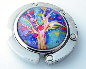 Purse Hanger - Heart Tree - Multi Color Photo Glass Cabochon, Purse Hook