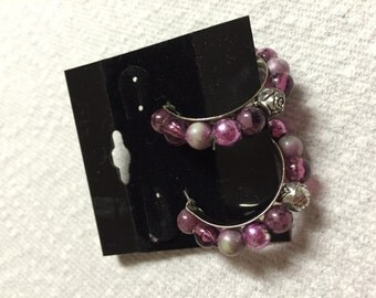 Purple Beaded Hoop Pierced Earrings