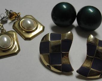 Great Deal Three Pair of Pierced Earrings