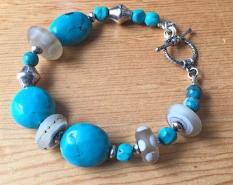 Turquoise, Lampwork and Silver Bracelet, Lamp Work and Genuine Turquoise Handmade Jewelry, Beach Inspired Boho Accessory