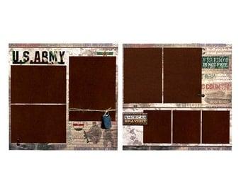 U.S. Army - Premade Military Scrapbook Page Set