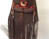 Handmade Purse, Upcycled, Suede, Brown Purse, Native American Inspired, Boho Shoulder Bag, Fringe, Hippie, Summer Bag