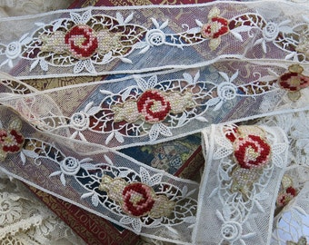 Antique Petit Point on Lace Cotton Trim Yardage  ... Vintage Lace Trim with Needlepoint Roses, Flowers, Embroidered Tule, Netting - LY151201