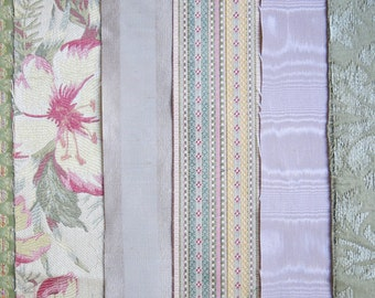 Dusty Pink & Green Fabric Pack, Collection...DESTASH SALE, Closeout Clearance...6 home design samplers, remnants, texture variety-F1613