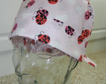 Tie Back Surgical Scrub Hat with Ladybugs Hearts on Pink